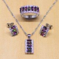 caixa de místico venda por atacado-Mystic Rainbow Fogo Zircon Mulheres 925 Sterling Silver Jewelry Set Brincos De Casamento / Pingente / Colar / Anéis Caixa de Presentes Livres