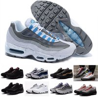 Wholesale Sports Neon Lights - 2017 New Men's women Cheap Mens air sports 95 Racer running shoes Premium OG Neon Cool Grey sporting shoes sneakers