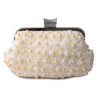 embreagem de diamante de pérolas com cristais venda por atacado-Novas Sacos De Noite Mulheres Saco De Embreagem Do Casamento Bolsa De Noiva Pérola Frisada Lace Rose Moda Rhinestone Bags