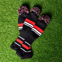 Wholesale hot fairway woods resale online - Golf Sports Accessories One Set Stripe Wool Knit Golf Clubs Set Driver Fairway Wood Headcovers Covers Hot