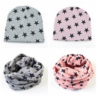 Wholesale toddler crochet beanies scarfs - Spring Coon Baby Hat Unisex Star Knied Crochet Cap Scarf Toddler Boys Girls O Ring Neckerchief Scarves Beanies