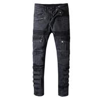 мужская модель оптовых-Balmain будущий воин байкер шаблон джинсы рок тощий тонкий разорвал популярные прохладный шаблон пестрые правда брюки дизайнер мужчины женщины джинсы