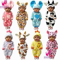 amerikan kız bebek 18 inç toptan satış-18 inç amerikan kız bebek için 43cm Zapf bebek giysileri hayvan seti sevimli bebek giysileri aksesuar