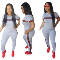 seksi yoga pantolonları toptan satış-Seksi Yaz Kadın Suits T-shirt Pantolon 2 adet Giyim Seti Eşofman Jogger Takım Elbise Lüks Giysiler
