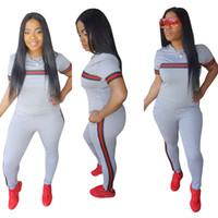 pantalones de yoga sexy al por mayor-Sexy Summer Women Suits T-shirt Pants 2pcs Ropa Conjunto Chándales Jogger Trajes Ropa de lujo