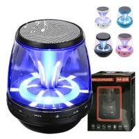 Wholesale car audio led lights - M28 universal Wireless Bluetooth Speakers Powered Subwoofer LED Light Support TF Card FM MIC Mini Digital Speaker car hands-free