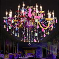 современные цветные хрустальные люстры оптовых-Красочные хрустальная люстра освещение блеск романтический современный подвесной светильник для кухни магазин одежды красоты дома светильник
