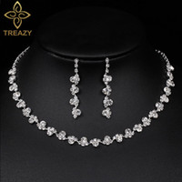 Discount rhinestone bridesmaids jewelry sets - TREAZY Shining Silver Plated Rhinestone Crystal Long Necklace Earrings Set for Women Bridesmaid Bridal Wedding Jewelry Sets