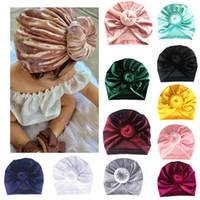 ingrosso sciarpe della testa della neonata-11 colori velluto bambino neonato cappello ragazze bambino indiano torsione nodo cofano chemio turbante berretto cappello testa sciarpa avvolgere solido