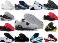 Wholesale navy surface - 2018 Mens SneAKers ShOes classic 90 Men and woMen RunnING ShOes Black Red White SpORts Trainer AIR Cushion Surface Breathable SpOrts ShOes