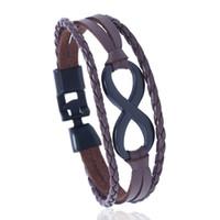 diseño de brazaletes de mano al por mayor-Infinity Peace Leaf Hamsa Hand design Cuff Brazalete Fashion Handnade Men Women Pu Pulseras de cuero Hombre Mujer Regalo de la joyería