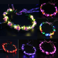 Wholesale Rose Hair Garland - Flashing LED Glow Rose Crown Headbands Light Party Rave Floral Hair Garland Wreath Wedding Flower Girl Headpiece Decor