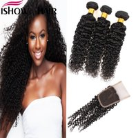 Wholesale kinky hair weave for blacks for sale - Group buy Good8A Brazilian Indian Malaysian Virgin Hair Kinky Curly With Lace Closure Unprocessed Hair Extension For Black Women