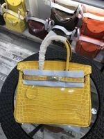 sacos de cor amarela venda por atacado-30 CM 2018 Nova Cor Amarela Senhora Totes sacos de Ombro Com Bloqueio de luxo mulheres Senhora Couro De Couro Genuíno Jacaré Moda Bolsa atacado