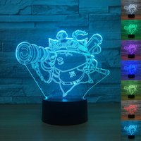 chico de la mesa al por mayor-Teemo Children 3d Lamp 7 Color Led Night Lamps para niños Touch Led Usb Table Lampara Lampe Baby Sleeping Nightlight