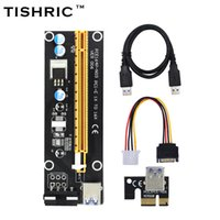pci e 1x riser al por mayor-TISHRIC Black 60cm PCI-E extensor PCI Express Riser Card 1x a 16x USB 3.0 SATA a 4Pin IDE Molex Power para minería Bitcion Miner