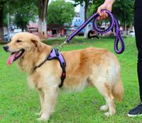 cadeia de cachorros grandes venda por atacado-XS-XL Nylon Trelas Do Cão Leash Saddle Peito Arneses Strap + 1.2 metros Sólida trelas Pequeno Médio Grande Cães Cadeia Leva Corda Pet Suprimentos