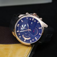 Wholesale Swiss Sport Dive Watch - Swiss Top Luxury Brand Men Luxury Watches Sport Stainless Steel Silicone strap Watch Stopwatch All Subdials Work Military Dive Wristwatches
