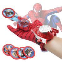 Wholesale Spider Man Gloves - 2018 Hot Selling Kids Wrist Launcher Toy Captain America Amazing Spider Man 2 Iron Man Gloves Cartoon Children Hot Toys Transmitter