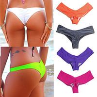 butts s thong großhandel-2018 Neue Frauen Brasilianische Bikini V Scrunch Butt Cheeky Thong Unten Strand Tragen S-XL