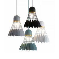 sala de estudo minimalista moderna venda por atacado-Badminton lustre Modern E27 minimalista pingente de luz Sala de Jantar Lâmpada Lâmpada de Personalidade Criativa Estudo quarto lâmpada (Incluindo lâmpadas)