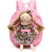 sacos de tecido bonito meninas venda por atacado-2017 3D Meninas Bonitos Projeto Saco de Escola de algodão personagens de tecido mochila do jardim de Infância fresco Crianças mochila para As Meninas
