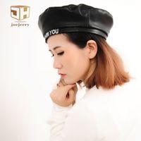 Wholesale Felt Beanies - Joejerry Fashion Felt Pu Leather Beret Hat Women Cap Female Ladies Beanie Beret Girls For Spring And Autumn