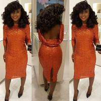 diz boyu turuncu elbiseler toptan satış-Afrika Sparkle Turuncu Kılıf Kokteyl Elbiseleri 2019 Seksi Backless Geri Bölünmüş Diz Boyu Balo Parti Ünlü Törenlerinde Ucuz