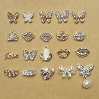 Wholesale 3d Butterfly Nail Art - Glitter Rhinestone 3d Nail Art Butterfly Lip Crown Mask Love Pattern Gold Silver Alloy Nails Jewelry 10pcs NP132