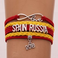 Wholesale spain leather - Infinity Love bracelet Spain Mexico Russia 2018 world cup jewelry Leather National Flag women men Bangles gift For Soccer Fans