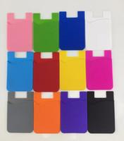 titular de la tarjeta para el teléfono celular al por mayor-Titular de la tarjeta de silicona para el teléfono Estuche de la cartera del teléfono celular de silicona Tarjeta de identificación del crédito Palo de bolsillo en el adhesivo de 3M