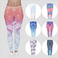 Wholesale women workout tights - Women Legging Yoga Pants Mandala Flower 3D Digital mermaid Printing Slim Fitness Workout Running Tights Trousers KKA5130