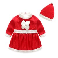 Wholesale Christmas Baby Girls Dress Clothes Hat New Year Costume Fashion Santa Claus Baby Clothes Newborn Girls Baby Boy Clothes