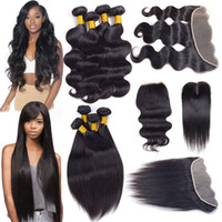 Wholesale Cheap Ombre Hair Weave - Brazilian Virgin Human Hair Extensions Body Wave Straight 4 Bundles with Lace Frontal Closure Remy Hair Weave Bundles with Closure Cheap