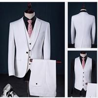 Wholesale best wedding dresses for groom online - 2018 Custom Made Mens White Suit Jacket Pants Formal Dress Wedding Suits For Man Groom Tuxedos Best Man Prom Slim Fit Jacket Pants Vest