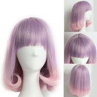 Wholesale Purple Ombre Synthetic Wig - Pink Purple Ombre Wig with Bangs Long Wavy Wig Women's Synthetic Hair Cosplay Wig and Cap Heat Resistant Synthetic Wigs for Black Women