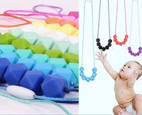 jóias do bebê para a mãe venda por atacado-Grau alimentício silicone bebê mastigar jóias dentição colar de enfermagem jóias mastigável mordedor para a mãe a usar dda715