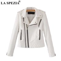 gelber kurzer trenchcoat großhandel-LA SPEZIA Lederjacke Für Frauen Weiß Motorrad Rock Mantel Damen Biker Punk Reißverschlusstaschen Herbst Winter Jacken Mode