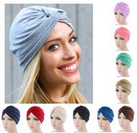 Wholesale skull cap cross resale online - Indian Style Cotton Turban Hat Solid Cross Baotou Bandana Hairband Chemo Pleated Head Wrap Hijab Cap Colors AAA697