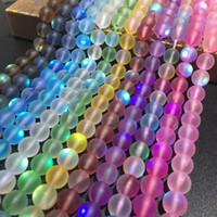 perles clignotantes halloween achat en gros de-8mm mat polonais givré perles de pierre de lune multicolore lâche cristal Quartz ronde pierre bricolage perles brin 15
