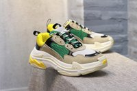 Wholesale vintage black heels - 2018 Retro Speed Training New Triple-S Sneakers Dad Shoes Fashion Vintage Women Men Running Shoes Thick Heel Grandpa Dad Casual Shoes