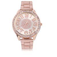 vestido de diamante de strass venda por atacado-Moda feminina de luxo strass diamantes cheios de relógio de pulso padrão de flor de aço inoxidável relógio de quartzo relógio relógio simples