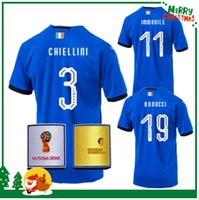 Wholesale italy world cup jerseys - Russia World Cup 2018 Italy BUFFON Soccer jersey MARCHISIO BALOTELLI DE ROSSI IMMOBILE PIRLO VERRATTI CHIELLINI PELLE shirt