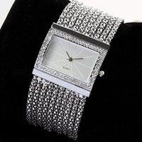 relógio de marca prata venda por atacado-2018 marca popular de luxo de moda de nova mulheres de quartzo banda de prata pulseira de strass pulseira de relógio