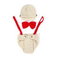 ingrosso costumi a mano lavorati a mano-DreamShining Baby Hat Outfit Bow Knitted Newborn Photography Puntelli Girl Boy Handmade Beanie Cap Photo Puntelli Costumi Accessori