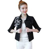 jaqueta jeans contas venda por atacado-Cinza jaqueta jeans preta plus size estilo Coreano bordado flor primavera e outono flor applique bead jeans casaco femme
