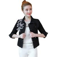 chaqueta jeans cuentas al por mayor-Gris chaqueta de mezclilla negro más el tamaño de estilo coreano bordado de flores de primavera y otoño flor apliques abalorios jeans capa femme