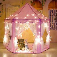 outdoor mädchen zelt großhandel-Mädchen Prinzessin Pink Castle Zelte Tragbare Kinder Outdoor Garten Klappspielzelt Lodge Kinder Bälle Pool Spielhaus