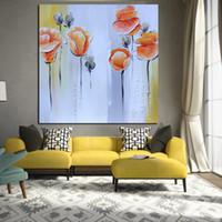 turuncu modern resim toptan satış-Baskı Soyut Bıçak Turuncu Gelincikler Yağlıboya Tuval üzerine Pop Art Poster Modern Oturma Odası Için Duvar Resmi Kanepe Cuadros Dekor