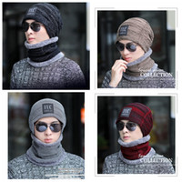 Wholesale warm skull caps for men for sale - Group buy Winter Warm Knitted Hat Colors Beanie Hats Scarf Sets For Student Teenagers Men Knitted Hat Cap MMA995